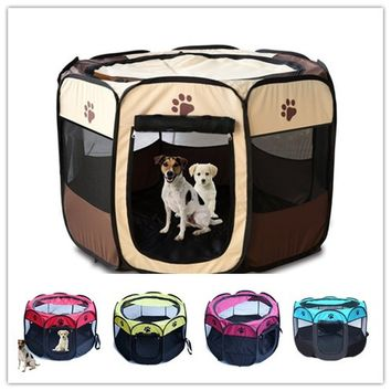 Pet Tent Portable Playpen Dog Folding Crate Dog house Puppy Kennel Cat Cage Water Resistant