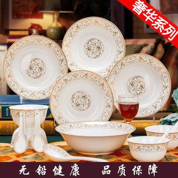 Shipping 14 head bone china tableware sets Jingdezhen bowl bowl dish Jinzhong Korean Everose