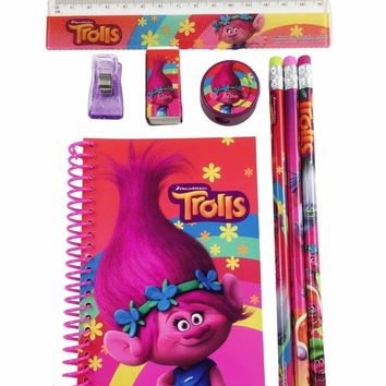 DreamWorks Trolls Poppy School Pencil, Eraser, Notebook Stationery Set- 1 Pack
