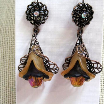 Halloween Earrings, Dangle, Handmade Antique Copper Filigree Hat, Lucite Flowers,Purple Crystal Beads, Hypoallergenic levers