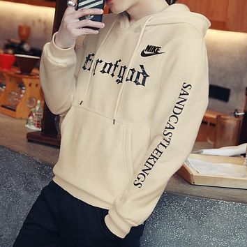 Nike Women Men Fashion Casual Letter Print Hooded Top Sweater Pullover