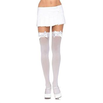 Satin Bow Opaque Thigh Highs - White - Queen Size