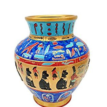 NEW EGYPTIAN PHARAOH COLORFUL CERAMIC DECORATION VASE, 80305 BY ACK