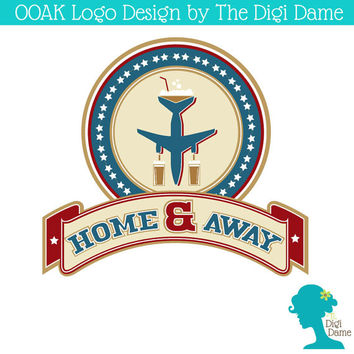 OOAK Premade Logo Design: Military/Aircraft Bar or Pub in Blue, Red, White and Gold