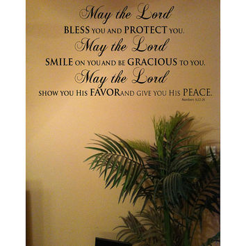 """14"""" x 27"""" May The LORD Bless You and Keep You Bible Scripture Numbers  6:22-26 Vinyl Wall Art Decal"""