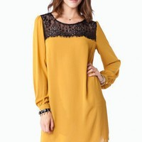 Dentelle Shift Dress in Mustard - ShopSosie.com