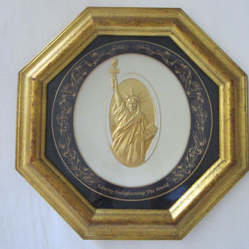 Commemorative Plate Gold Liberty Statue Pickard China Octagonal Decor