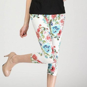 DCCKH6B lady short slim leggings floral daisy flower pencil capris fitted short legging women summer knee length trousers