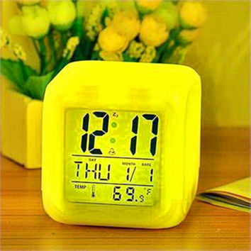 New 2017 Glow Color Change Led Alarm Clock Calendar Temperature Desktop Digital Clocks Table Backlight Light Decoration