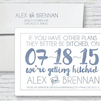 Hand Painted Wedding Invitation - Typography Wedding Invite