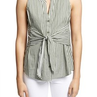 Sanctuary Cara Tie Front Stripe Shell | Nordstrom