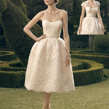 Casablanca Bridal 2182S Short Strapless Lace Tea Length (No Jacket) Wedding Dress
