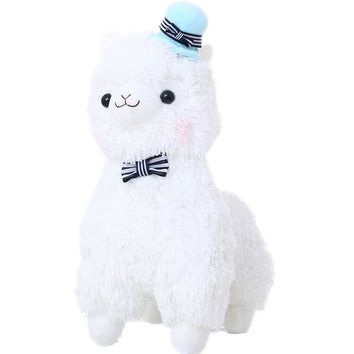 35cm Japanese Alpacasso Plush Stuffed Alpaca with Hat and Tie
