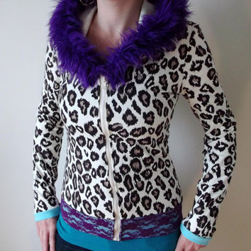 Cheetah Purple Lace Sweatshirt Hoodie with Purple Fur Hood Cute Fuzzy Warm