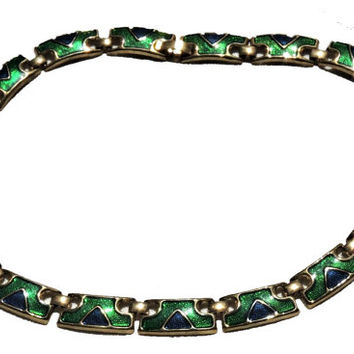 Enameled Statement Necklace, Blue Green, Collar Necklace, Link Necklace, Vintage Necklace, Costume Jewelry, Vintage Jewelry