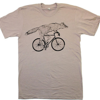 Mens ORGANIC cotton BICYCLE FOX T-Shirt american apparel Sustainable Clothing Animal Art  S M L xl and xxl (cinder tan)