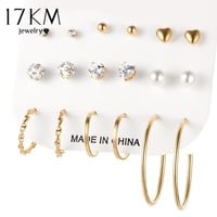 17KM Unicorn Crystal Simulated Pearl Stud Earrings For Women Vintage Boho Aros Koyle Clip Cuff Heart Earring Set 9 Pairs/Set