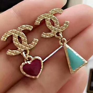 Stylish Women Chic Heart Triangle Asymmetric Pendant Earrings Accessories Jewelry