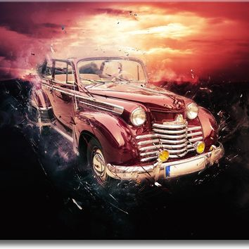 Antique Car in Sunset Picture on Stretched Canvas, Wall Art Décor, Ready to Hang