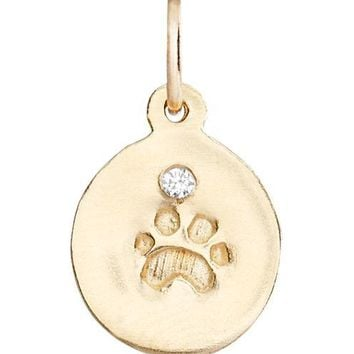 Small Paw Print Disk Charm With Diamond