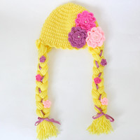 Disney Princess Rapunzel Style Crocheted Baby Hat From Tangled For Girl Newborn to Adult  With Big Flowers