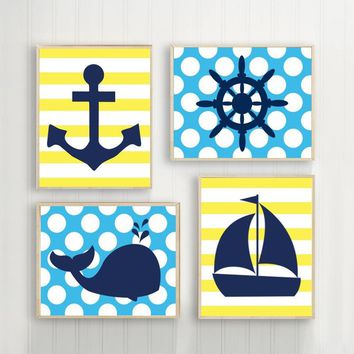 BOY NAUTICAL Wall Art, Baby Boy Nautical Nursery Decor, Nautical Bathroom Decor, Whale Anchor Sailboat Wheel Canvas or Prints Set of 4