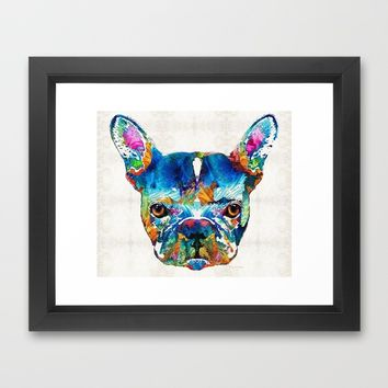 Colorful French Bulldog Dog Art By Sharon Cummings Framed Art Print by Sharon Cummings | Society6