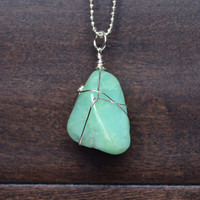 Chrysophrase Stone Necklace, Natural Gemstone Necklace,Green Stone,Earthy Jewelry