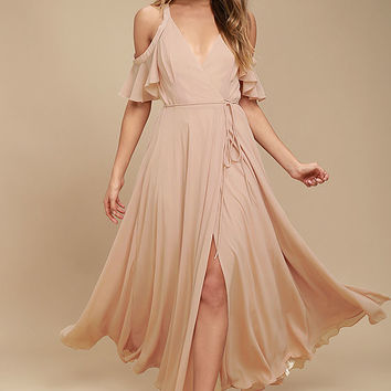 Easy Listening Blush Off-the-Shoulder Wrap Maxi Dress