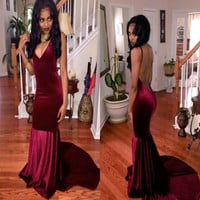 Sexy Spaghetti Straps Backless Burgundy Prom Dress 2016 Vestiodos Mermaid Velvet Dark Red Prom Dresses Party Evening Gowns