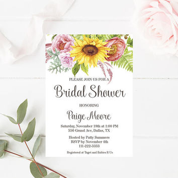 Rustic Bridal Shower Invitation, Printable Sunflower Bridal Shower Invitation, Floral Invitation, Sunflower Invitation, Rustic Invitation