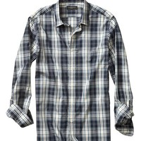 Banana Republic Mens Factory Green Plaid Shirt