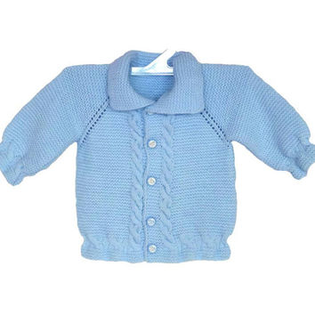 Baby cardigan, Baby clothes, Baby shower gift, Hand knit baby dress, Knitted baby cardigan, Baby blue pullover, Newborn, Blue baby sweater
