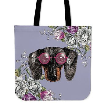 Floral Dachshund Linen Tote Bag - Promo
