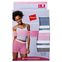 Hanes® Premium Women's Boyfriend Mid Thigh Boxer Briefs 3pk - Colors Vary S