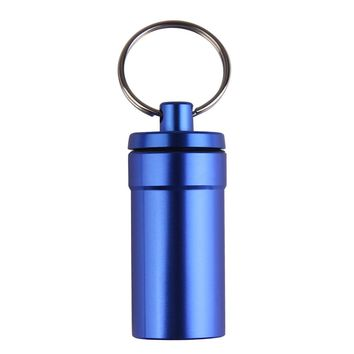 Waterproof Aluminum Pill Box Medicine Container Case Capsule Holder First Aid Gallipot with Key Ring Chain travel kits