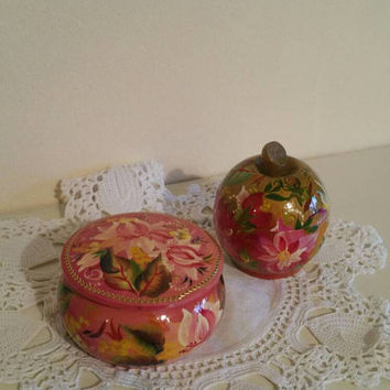Two vintage handpainted wooden trinket boxes/apple trinket box/bohemian /colourful  wooden boxes/lacquered paint/ships worldwide