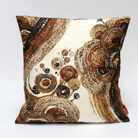 Brown mid century cushion cover  40x40 - 16x16 - retro decorative throw pillow - Handmade with love from vintage fabrics