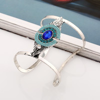vintage charm European And American Metal Geometric Gem 2 Colours Crystal Jewelry Bangles Pulseras BR0042 Blue
