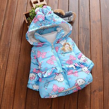 BibiCola Newborn outerwear winter butterfly print hooded baby girls cotton-padded coats warm thick jacket infant blue clothes