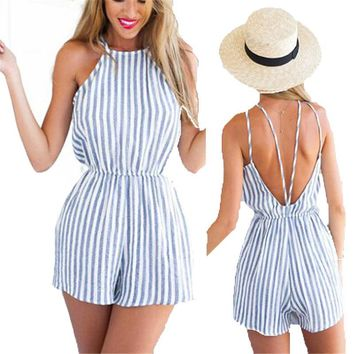Women's Pretty Striped Halter Top and Backless Romper.    In Sizes From Small to XL.     ***FREE SHIPPING***