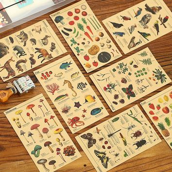 DIY Colorful plant Animals Kraft Paper kawaii Stickers Diary Planner Journal Note Scrapbooking Albums PhotoTag Alideco