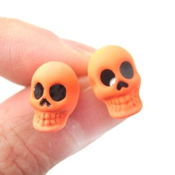 Unisex Skull Shaped Skeleton Themed Rocker Chic Stud Earrings in Neon Orange