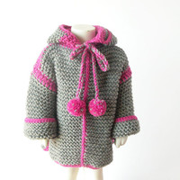 Toddler Knit Cardigan Sweater / Girl Gray Wool Hoodie / 1, 2 Years Old Hooded Coat / Ready To Ship