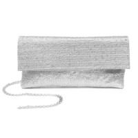 Silver Sequin and Satin Rectangle Clutch Purse