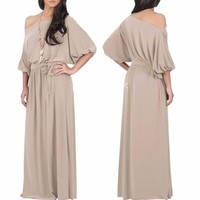 Women's Khaki/Mocha BOHO Flowy Off the Shoulder Long Maxi Dress with Tie