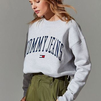tommy jeans collegiate crew neck sweatshirt