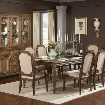 Home Elegance 845-96 7 pc eastover collection distressed driftwood finish wood dining table set with padded seats and turned legs