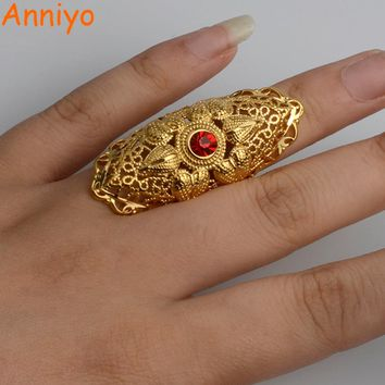 Anniyo Ethiopian Big Ring Gold Color for Women Trendy African/Arabian/Middle East Jewelry Charm Party/Wedding Gift #003025