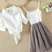 Coffee Patchwork 2-in-1 Double-deck Single Breasted Mini Dress
